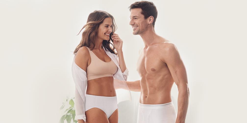 Jockey Sale: Women's Smooth High-Waist Briefs in white and Men's Classic Three-Pack Cotton Boxer Brief Set in white