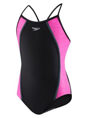 21ead09aaa24f Product image. QUICK VIEW. Speedo. Girls Heather Thin Strap One-Piece  Swimsuit