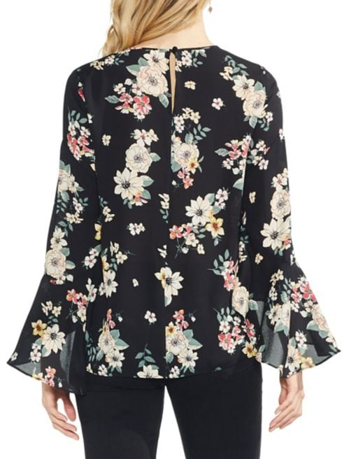 Floral Flared Sleeve Blouse Estate Story Vince Jewel Camuto IH9ED2