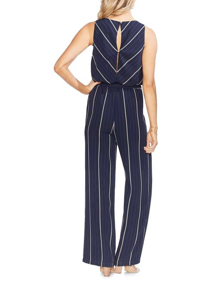 2c59eb244f29 Vince Camuto - Sleeveless Striped Belted Waist Jumpsuit - thebay.com