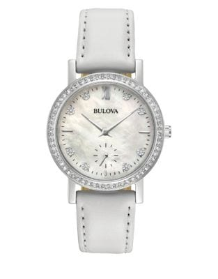 4e8860d1ccd QUICK VIEW. Bulova. Analog Swarovski Crystal Pave Bezel Leather Strap Watch.   350.00 Now  262.50 · Analog Pave Stainless Steel Leather Strap Watch BLACK