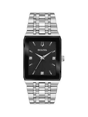 80428710631 Quadra Silvertone Stainless Steel   Diamond Bracelet Watch BLACK. QUICK  VIEW. Product image
