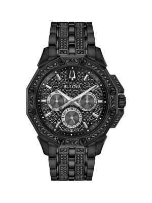 613e53a6615 Stainless Steel   Swarovski Crystal Bracelet Chronograph Watch BLACK. QUICK  VIEW. Product image