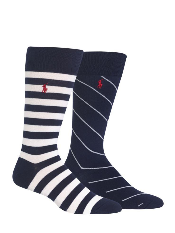 3a73360caa964 Polo Ralph Lauren - Two-Pack Bar Stripe Rugby Socks - thebay.com