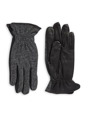 915cc1c7787f4e QUICK VIEW. Hudson North. Wool and Black Leather Palm Touch Gloves