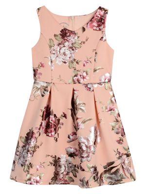e93418a5f QUICK VIEW. Pastourelle. Girl's Printed Foil Scuba Pleated Dress