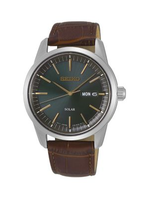 Seiko Stainless Steel & Leather-Strap Solar Watch