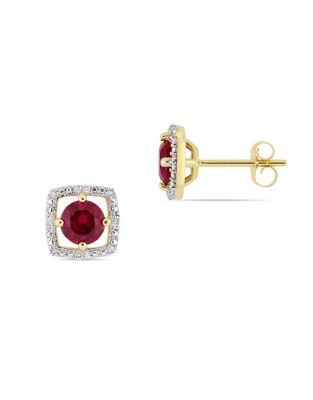f8badcf6fd1 QUICK VIEW. Concerto. 10K Yellow Gold Halo Birthstone Stud Earrings ...