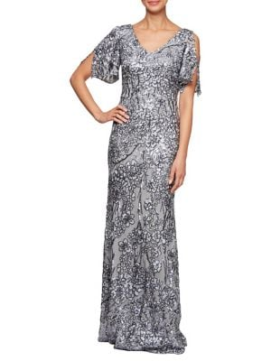 5e7c7ea5 QUICK VIEW. Alex Evenings. Floral Sequined A-Line Gown
