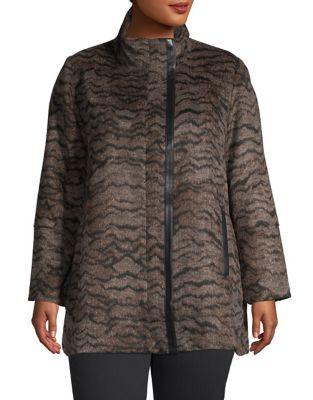 3b7ac2de95d Product image. QUICK VIEW. Rafaella. Plus Animal Allover Plush Jacket
