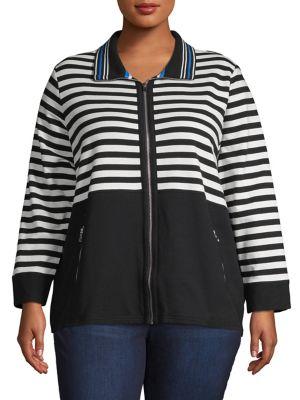 267073f4baa Plus Striped Cotton Jacket. Rafaella