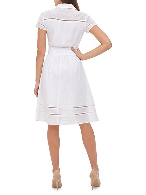 Tommy Hilfiger Womens Cotton Embroidered Shirtdress