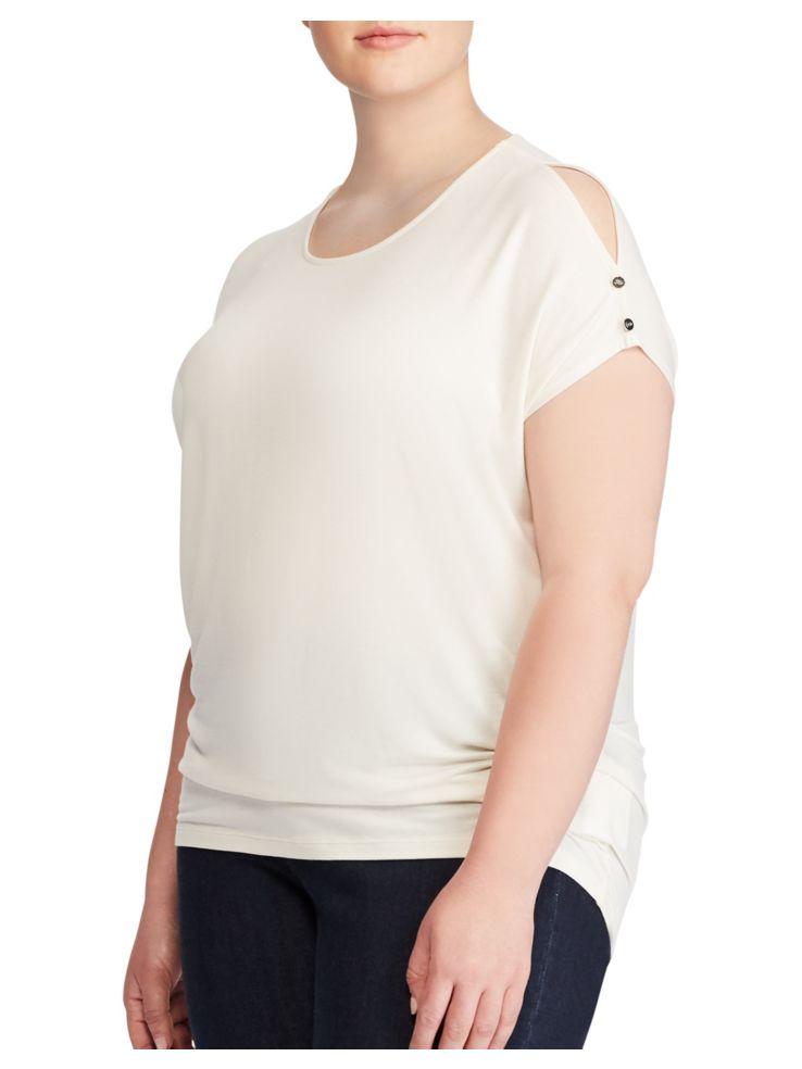 caa276d0836b4a Lauren Ralph Lauren - Plus Jersey Cold Shoulder Top - thebay.com