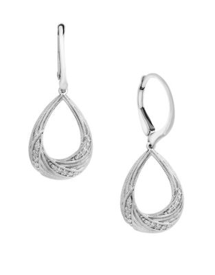 d730cea5a Product image. QUICK VIEW. Effy. 0.09 TCW Diamond and 14K White Gold Swirl  Earrings