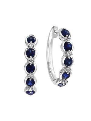 dd1281ea1 QUICK VIEW. Effy. 14K White Gold, Sapphire & 0.16 TCW Diamond Hoop Earrings
