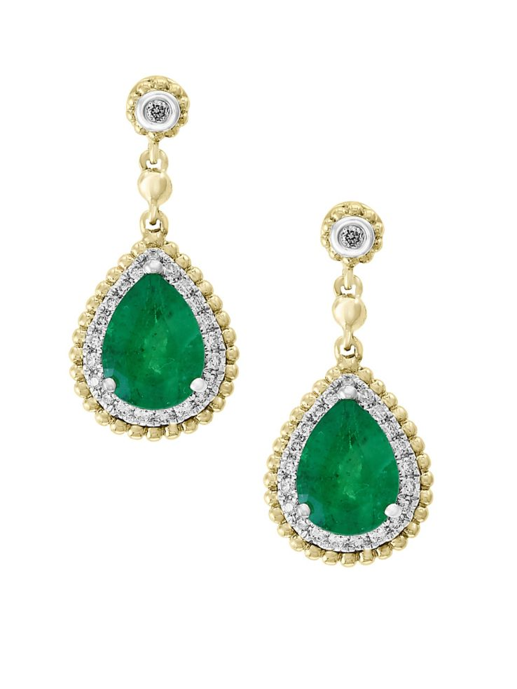 Brasilica 14k White And Yellow Gold Natural Emerald 0 18 Tcw Diamond Earrings