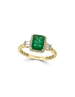 96099a7686c87 Effy - Brasilica 14K Yellow Gold, Emerald & 0.29 TCW Diamond Ring ...