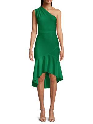 2945c8ac QUICK VIEW. Xscape. One-Shoulder Flounced High-Low Hem Bodycon Dress