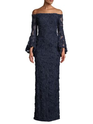 3fc75cf5150 Floral Lace Bell-Sleeve Column Gown NAVY. QUICK VIEW. Product image
