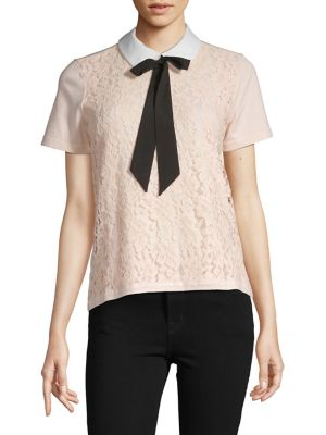 0aa61ea237e4 Product image. QUICK VIEW. Karl Lagerfeld Paris. Bow Collared Lace Top