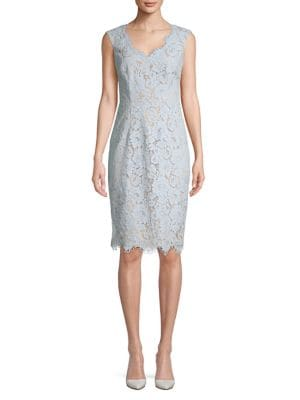 ca78ceae Product image. QUICK VIEW. Eliza J. Lace-Trimmed Cotton Blend Sheath Dress