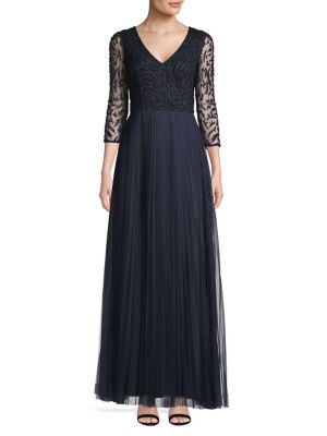 b2751fe1fbae Beaded Long-Sleeve Gown NAVY. QUICK VIEW. Product image. QUICK VIEW