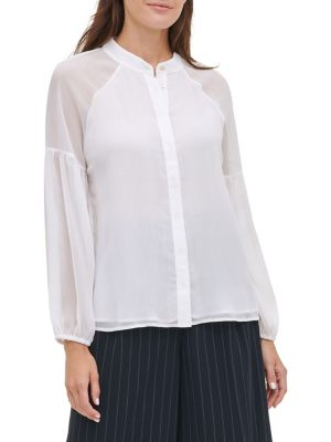 21a53119f53b Product image. QUICK VIEW. Tommy Hilfiger. Shirred Long-Sleeve Top