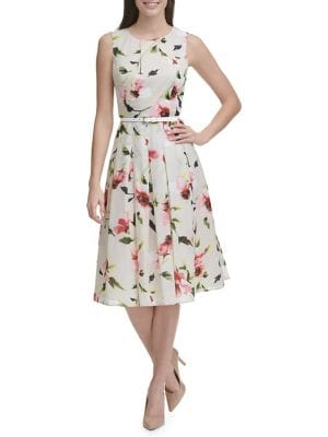 55968b5c87a QUICK VIEW. Tommy Hilfiger. Corsage Floral Belted Midi Fit   Flare Dress