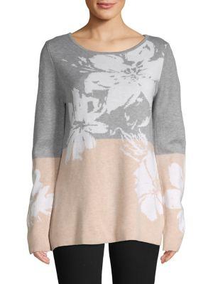 7b1ac9870b2a QUICK VIEW. Calvin Klein. Long Sleeve Jacquard Scoop Neck Top