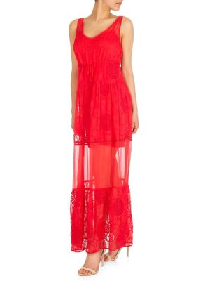 047612fbb8b QUICK VIEW. GUESS. Embroidered Sheer Maxi Dress