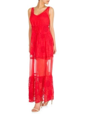 4901496219 QUICK VIEW. GUESS. Embroidered Sheer Maxi Dress