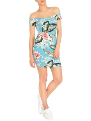 284cfb0477 Product image. QUICK VIEW. GUESS. Maeko Off-The-Shoulder Floral Bodycon  Dress