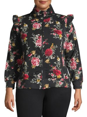 516415967a7 QUICK VIEW. Design Lab Lord   Taylor. Plus Floral Turtleneck Bomber Jacket