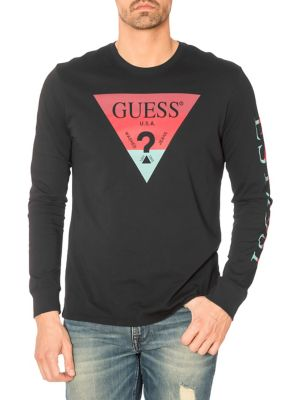 24fa3f46211b Product image. QUICK VIEW. GUESS. Triangle Logo Cotton Tee
