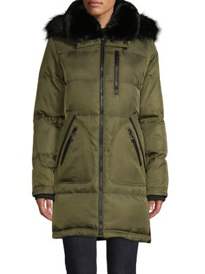 Vince Camuto Faux Fur-Trim Down-Filled Puffer Jacker