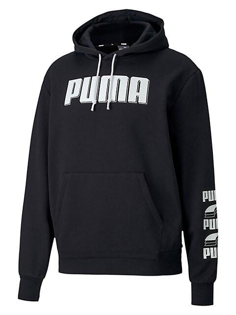 Puma Chandail à capuchon imprimé en mélange de coton Rebel PUMA NOIR