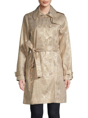 5669ac2424014 Product image. QUICK VIEW. Calvin Klein. Floral Brocade Trench Coat