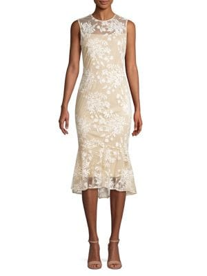 ac13d234 QUICK VIEW. Calvin Klein. Embroidered Illusion Sheath Midi Dress