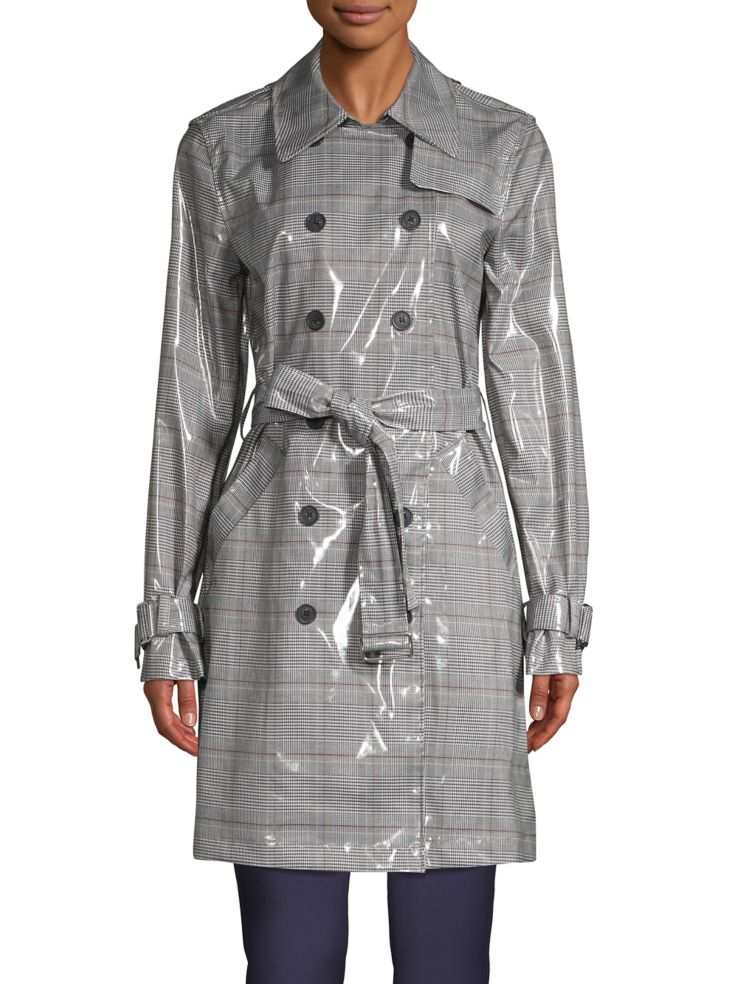 c87c74757a3 Calvin Klein - Plaid Double-Breasted Trench Coat - thebay.com