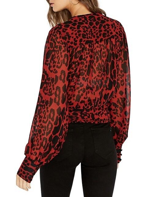 Buffalo David Bitton Haut de style kimono à motif sauvage My Treat LÉOPARD ROUGE