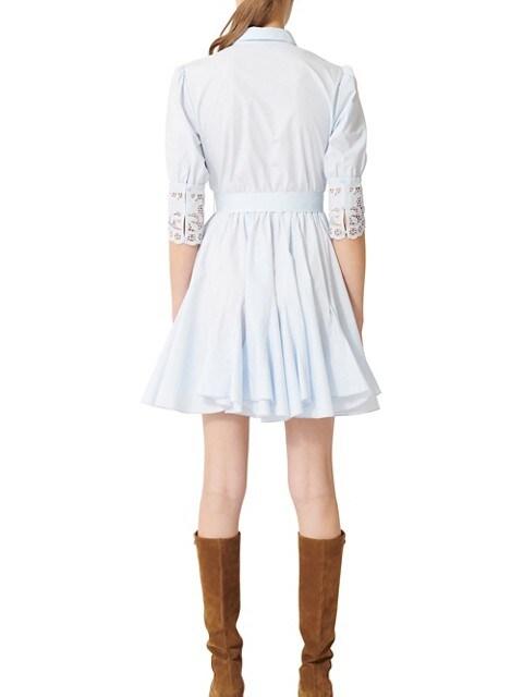 Maje Robe chemisier en coton avec garnitures de dentelle Rebella BLEU