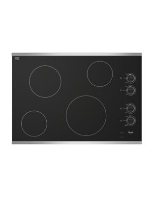 W5CE3024XS 30-inch Electric Ceramic Glass Cooktop with Dishwasher-Safe Knobs- Stainless Steel photo