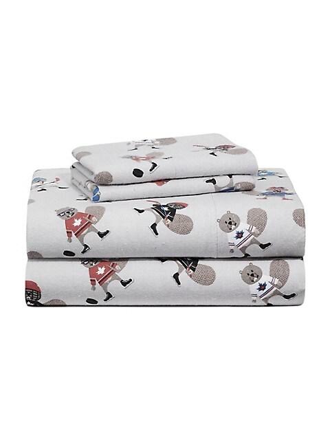 Distinctly Home Slap Shot 4 Piece Flannel Sheet Set Thebay