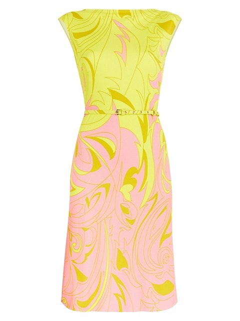 Emilio Pucci Belted Abstract-Print Sleeveless Fit-&-Flare Dress