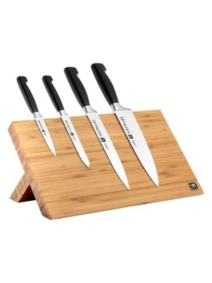 Zwilling Four Star 5-Piece Knife Block Set With Magnetic Easel
