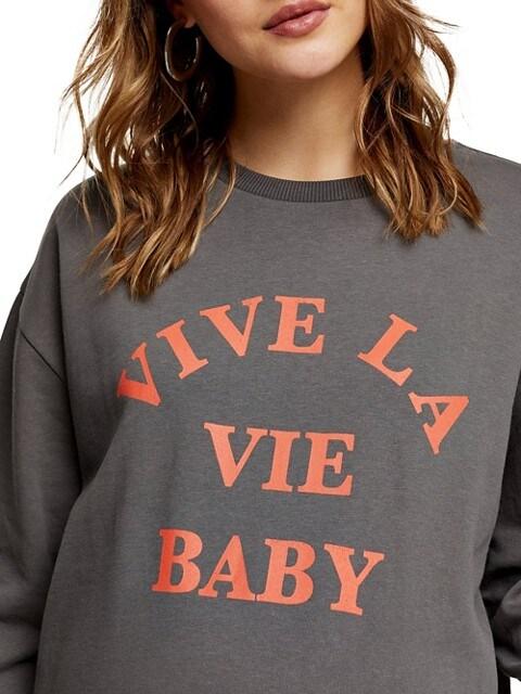 TOPSHOP Maternité - Chandail en molleton « Vive la vie baby » LAVÉE NOIRE
