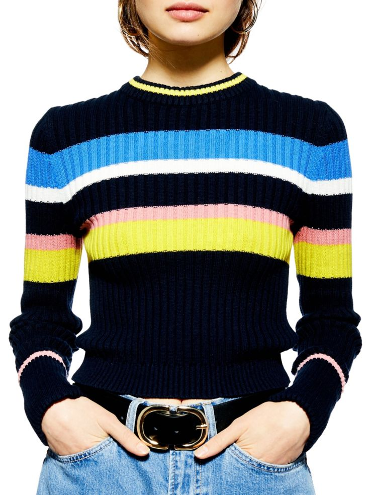 aa76c4f08d TOPSHOP - PETITE Striped Crop Sweater - thebay.com