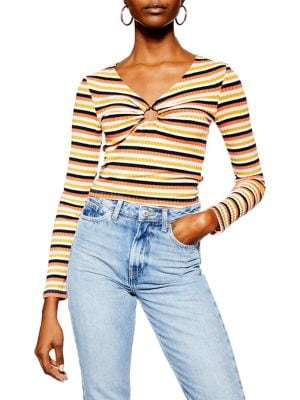 4dbb300dc191d Product image. QUICK VIEW. TOPSHOP. Striped Hoop Top