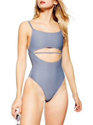 15fd564d2748f One-Piece Ribbed Split Middle Swimsuit. TOPSHOP