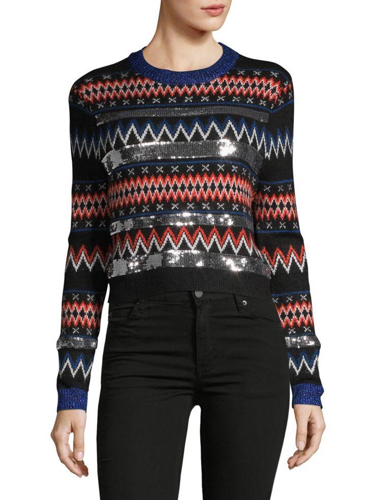 1d90d88cfee48 TOPSHOP - Sequin Striped Fair Isle Sweater - thebay.com